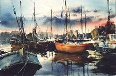 Vjacheslav Kurseev Sailing Ships, Seaside, Abstract, Watercolors, Boats, Artwork, Painting, Facebook, Watercolour