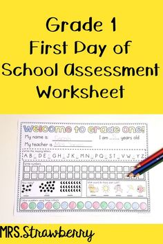 First Day of School Assessment Worksheet Grade 1