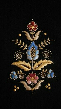 Embroidery Neck Designs, Bead Embroidery Patterns, Gold Embroidery, Embroidery Stitches, Jacobean Embroidery, Embroidery Techniques, Needlework, Goldwork, Embroidered Flowers