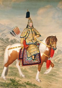Giuseppe CASTIGLIONE Italian 1688–1766, worked in China 1714–66 Qianlong Emperor in ceremonial armour on horseback Qing dynasty, Qianlong period 1739 coloured inks on silk 322.5 x 232.0 cm (image and sheet) The Palace Museum, Beijing (Gu8761)