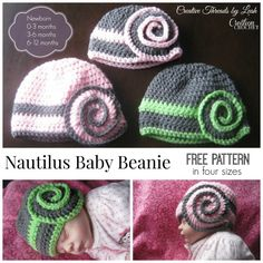 FREE pattern for the Nautilus Baby Beanie, available in four sizes http://www.cre8tioncrochet.com/2014/06/nautilus-baby-beanie/