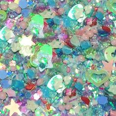 "Amazon.com: Custom & Fancy Approx 0.5 Teaspoon of Small ""Nail Art"" Confetti Made of Premium Mylar w/ Summer Aqua Tone Shimmer Mermaid Look Heart & Star Sparkle Glitter Dust Design [Blue, Green, Pink & Yellow]: Toys & Games"