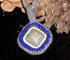 Cobalt Blue and Grey  Beaded Picasso Stone by PennysBeadQueen2, $70.00