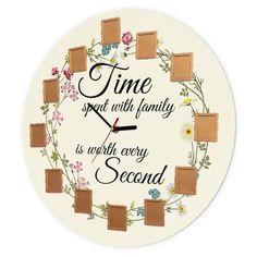 """Ceas de perete """"Timpul petrecut cu familia"""", 40 cm, Flori Trăim vremuri în care timpul este cea mai prețioasă resursă, iar felul în care alegem să îl petrecem spune multe despre valorile noastre. Pentru cei care înțeleg acest lucru și valorifică cel mai mult momentele petrecute în familie, acest ceas de perete personalizat este un cadou simbolic, cu încărcătură emoțională. My Love, Products, Beauty Products"""