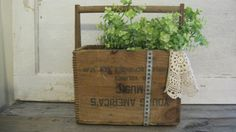 Primitive wood box tote by thefeedstore on Etsy, $68.00