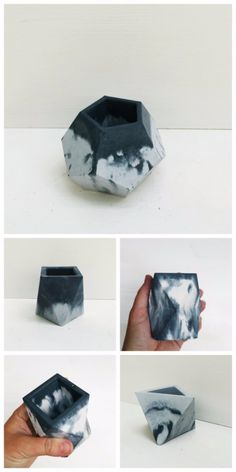 DIY Projects Made With Concrete - DIY Marbled Concrete Planters - Quick and Easy DIY Concrete Crafts - Cheap and creative countertops and ideas for floors, patio and porch decor, tables, planters, vases, frames, jewelry holder, home decor and DIY gifts. Modern, Rustic and Farmhouse Decor Ideas http://diyjoy.com/diy-projects-concrete