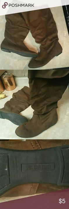 Slouch boots size 6.5W Brown suede texture slouched boots are wide at the calf Lower East Side  Shoes