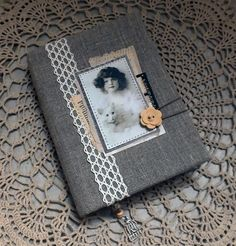 Notebook Fabric Covered Diary Fabric Cover Antiqued Coffee Paper Victorian Handmade Journal Vintage Textile Cover Journal Textile Book Cover