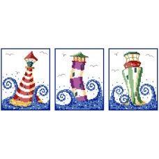 Three Lighthouses Cross Stitch Pattern