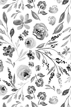 Garm House Florals C in black and white by indybloomdesign - Hand painted watercolor florals on fabric, wallpaper, and gift wrap. Beautiful whimsical floral painting in watercolor in black and white with a painterly style. #design #floral #weddingflowers #handpainted #diy #craft #fabric #sewist #interiordesign #decorate