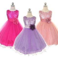 Kids Girl Baby Princess Flower Sequin Party Prom Wedding Communion Formal Dress