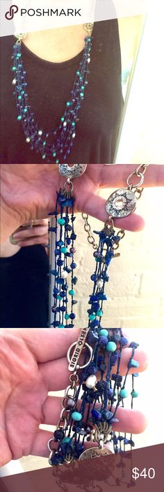 """Lapis, pearl, turquoise necklace. Sigrid Olsen Pre loved with wear to silver finish over copper chain in places. No other flaws. Long multi strand real stone chip and pearl beads in blues and white. Toggle clasp. Longest length 38"""". Can insert toggle to make 26"""" length shortest. Sigrid Olsen Jewelry Necklaces"""