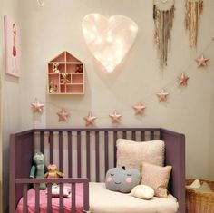 14 Pink Kids' Room Ideas - Petit & Small I have a cute star garland similar to that in my shop: https://www.etsy.com/listing/178405187/baby-girl-nursery-decor-fabric-star