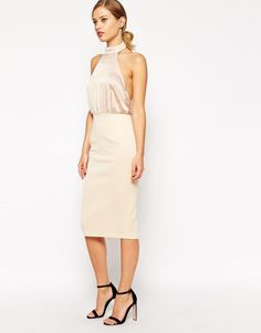 ASOS | ASOS Soft Halter Pencil Dress at ASOS