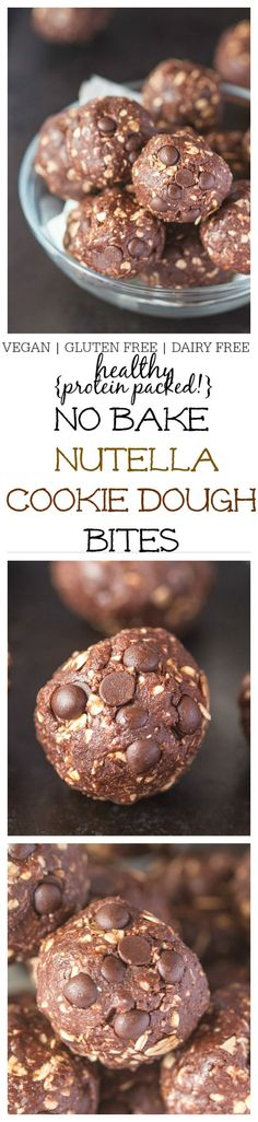 """Healthy {protein packed!} No Bake """"Nutella"""" Cookie Dough Bites- Just 1 bowl and FIVE minutes is needed to whip up this NO BAKE """"nutella"""" cookie dough bites which are high in protein, vegan, gluten free and dairy free! Perfect for breakfast or snacking! @thebigmansworld- thebigmansworld.com"""