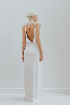 Relaxed open back wedding dress with beaded bodice by Charlotte Simpson