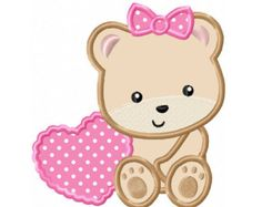 Girl bear in the sky machine embroidery design set of by FunStitch