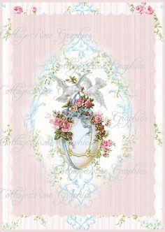 Vintage EASTER EGG Doves pink roses Large digital download ECS buy 3 get one free romantic cottage gift tags or single image. $3.75, via Etsy.