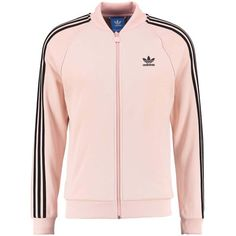 adidas Originals Tracksuit top ❤ liked on Polyvore featuring activewear, activewear tops, pink sportswear, adidas originals and pink activewear