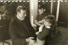 John Wayne with his children Ethan and Marisa
