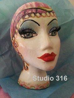 Deluxe Hand Painted w Custom Design Styrofoam Display Mannequin Head #customsignednumberedoriginaldesigns