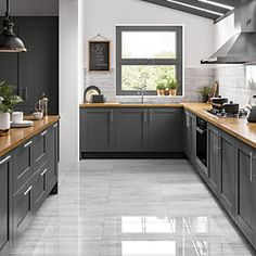 Wickes Olympia Light Grey Polished Stone Porcelain Wall & Floor Tile 600 x Concrete Kitchen Floor, Grey Kitchen Tiles, Porcelain Kitchen Floor Tiles, White Kitchen Flooring, Polished Porcelain Tiles, Grey Kitchens, Open Plan Kitchen Living Room, Kitchen Room Design, Home Decor Kitchen