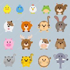 Círculo redondo ilustração animais a cor dos desenhos animados — Ilustração de Stock #115440682