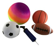Buy soft sports balls for your kids at good price. This Sports ball set includes Rainbow Playground Ball, Football, Soccer Ball, Basketball, Deluxe Pump. Pumpkin Carving Kits, Soccer Ball, Kids Toys, Online Shopping, Delicate, Collections, Games, Awesome, Products