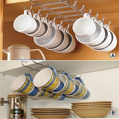 Clever Mug Storage Under Cupboards ~ This Would Free Up A Lot More Cabinet  Space! | Call Me Coffee | Pinterest | Cabinet Space, Cupboard And Storage