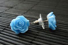 New to StumblingOnSainthood on Etsy: Flower Earrings: Blue Rose Earrings. Silver Post Earrings. Flower Jewelry. Stud Earrings. Handmade Jewelry. (8.00 USD)