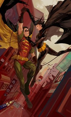 Robin and Batgirl  by *JenZee