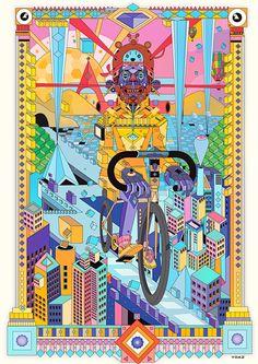 bicycle Art Print by yoaz - X-Small Bike Illustration, Ink Illustrations, Digital Illustration, Cycle Drawing, Bd Comics, Bicycle Art, Cycling Art, Collage Art, Framed Art Prints