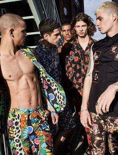 Floral prints easily dominate the season for a bold look. Left to Right: Saul wears all clothes Moschino. Ashton wears all clothes Tommy Hilfiger. Vitor wears short Fausto Puglisi. Jack wears all clothes Coach 1941. Roman wears all clothes Dior Home.