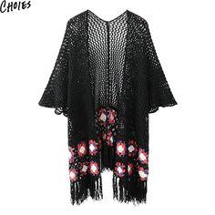 Choies Black Crochet Flower Pattern Open Front Tassel  Cardigan Cut Out Sweater…