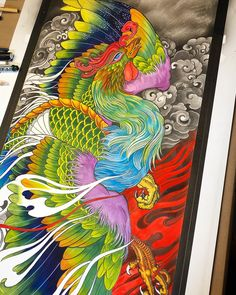Dragon, It's 9 o'clock in the morning, I am done for the night, to be continued next evening. Japanese Phoenix Tattoo, Small Phoenix Tattoos, Phoenix Tattoo Design, Japanese Tattoo Art, Japanese Art, Koi Tattoo Sleeve, Phönix Tattoo, Shape Tattoo, Body Art Tattoos