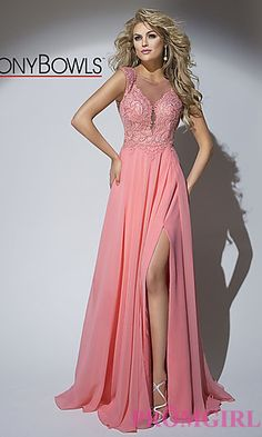 Long Tony Bowls Open Back Illusion V-Neck Prom Dress at PromGirl.com