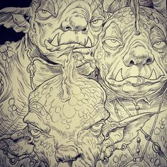 Web-foot Goblins from Chris Riddell and Paul Stewart's series The Edge Chronicles D D Characters, Character Illustration, Goblin, Art Sketches, Art Reference, Illustrators, Coloring Pages, Lion Sculpture, Fantasy