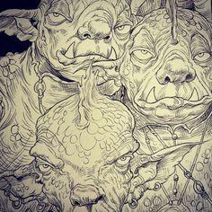 Web-foot Goblins from Chris Riddell and Paul Stewart's series The Edge Chronicles #edgechronicles #illustration #goblins