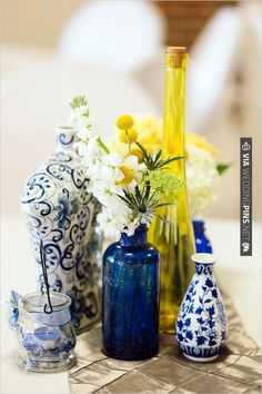 blue, white and yellow table decoration ideas | CHECK OUT MORE IDEAS AT WEDDINGPINS.NET | #wedding
