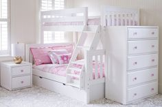 """The Maxtrix Kids """"Slope"""" Twin over Full Bunk with Angle Ladder is made of solid wood and a unique ladder for easy access to the top bunk. Shown with a Maxtrix Nightstand, 5 Drawer Dresser and Trundle for added storage. All items available in three finishes - Natural, White, Chestnut. Shop this look at www.Maxtrixkids.com"""