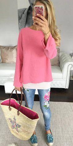 cute ootd top + floral jeans + bag