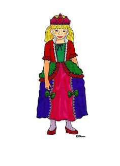 Karens Kravlenisser. Cut-outs and Colouring Pages. : Princesses to Print in Colours. Prinsesser til at printe i farver.