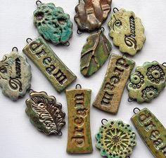 metal inserts during firing Metal Clay Jewelry, Ceramic Jewelry, Ceramic Beads, Ceramic Clay, Polymer Clay Projects, Polymer Clay Creations, Polymer Clay Beads, Diy Air Dry Clay, Mug Design