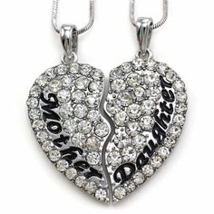 Mother Mom Daughter Best Friends Forever BFF Heart Two Pendant Necklace Engraved Letters Mother's Day Jewelry Gift For Mom: Mother's Day Gift