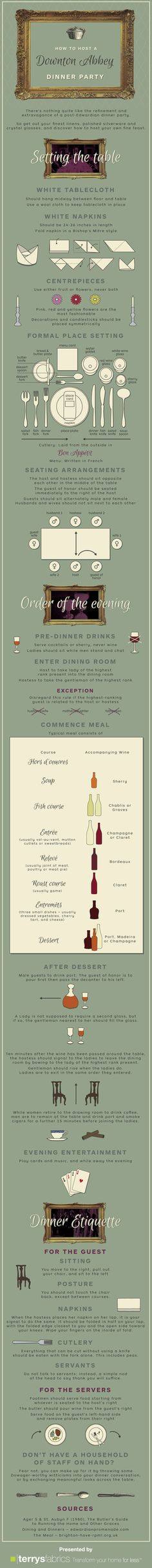 "#INFOgraphic > Downton Abbey Dinner Etiquette: What are our favorite "" Downton Abbey "" scenes? That's easy: the dinner parties, of course! Get to know with the etiquette and do your magic.  > http://infographicsmania.com/downton-abbey-dinner-etiquette/?utm_source=Pinterest&utm_medium=INFOGRAPHICSMANIA&utm_campaign=SNAP"