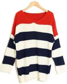 Red White Navy Striped Long Sleeve Pullovers Sweater