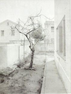 Isabel Quintanilla (Madrid, 1938) La higuera, 1973 lápiz sobre papel 96x72cm Spanish Painters, Spanish Artists, Graphite Drawings, Drawing Sketches, Landscape Drawings, Landscape Paintings, Sense Of Place, Urban Sketching, Art Sketchbook