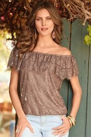 Off-the-shoulder lace overlay blouson top