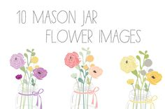 Mason Jar Flower Clip Art + Vector ~~ This download includes 10 super cute Mason Jar With Flowers Clip Art PNG Images as well as an EPS vector file. Feel free to manipulate the colors. Included colors are shown. Jars come 5 with ribbons, 5 without.