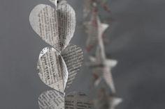 newspaper heart garland